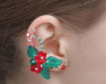 Silver ear cuff Red flower earrings Floral earcuff Fairy Green leaf Nature style Ear wrap jacket Non pierced Bohemian jewelry Gift for her