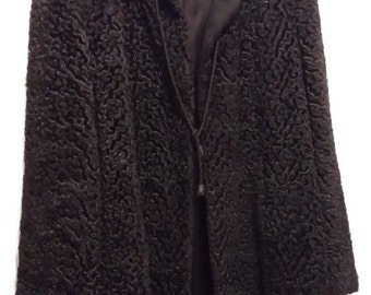 Deep Black Persian Lamb's Wool Jacket by Persis 1950s