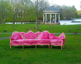 Vintage Rare Pink Velvet Victorian Sectional - Hollywood Regency Tufted Velvet Couch - Antique French Provincial Wood Carved Gold Pink Sofa