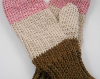 Wool mittens | Neapolitan Mittens | Hand knit mittens | Winter mittens | Ice cream | Gift accessories