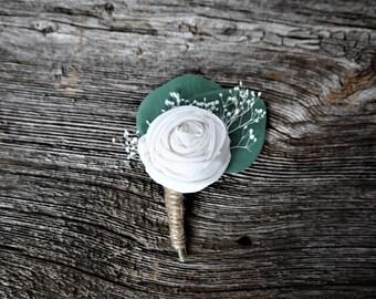 Fabric Flower Boutonniere, Eucalyptus Boutonniere, Stardust Gypsum, Groom Boutonniere, Rustic Boutonniere, White Fabric Flower, Greenery
