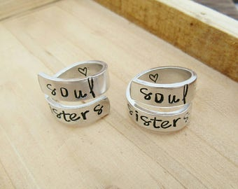 Matching Soul Sisters Rings - Soul Sister Gift - Adjustable Wrap Ring - Hand Stamped Jewelry - Best Friend