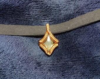 Labradorite copper pendant. Wirewrapped pendant, wire pendant, gemstone pendant