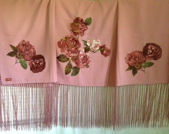 Native American Regalia *NAKODA MADE* Pow Wow Traditional Rose Appliqued Dance Shawl