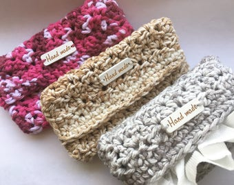 Handmade Crochet Pocket Tissue Holder, Crochet Travel Tissue Cozy, Customizable