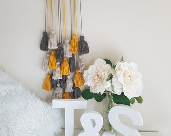Mustard, Brown, Natural Tassel Wall Hanging