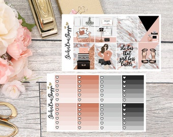 Girl Boss Weekly Kit Planner Stickers - For Erin Condren Life Planner or Happy Planner