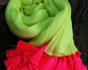Tassel Scalf, Fluro Yellow Scalf With Bright Pink Tassels