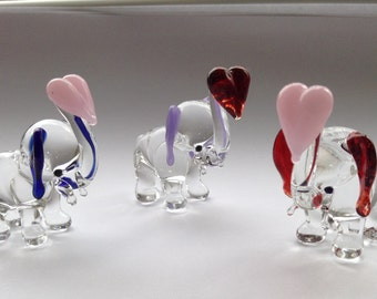 Glass Elephant With Glass Heart