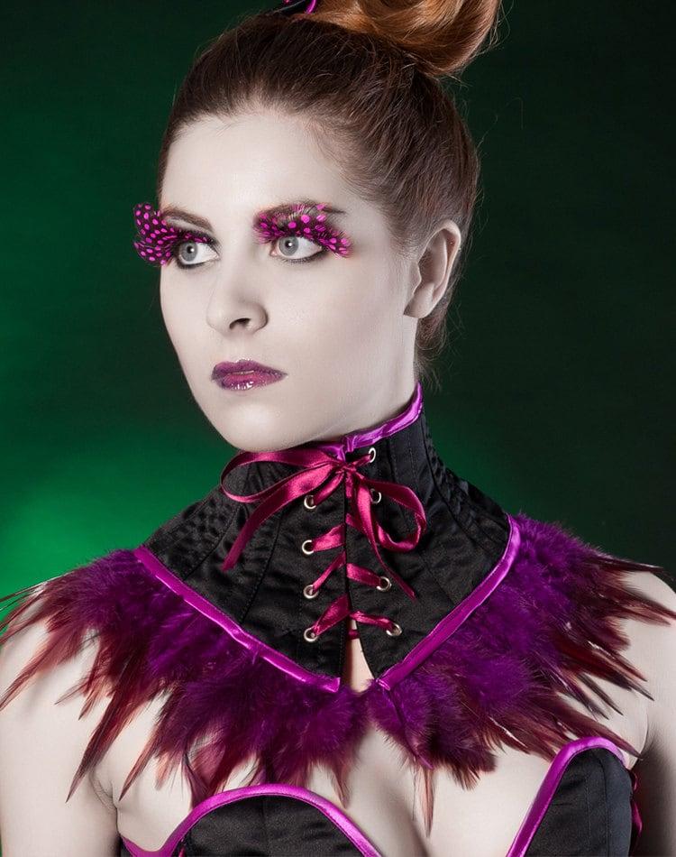 Black purple neck corset ...