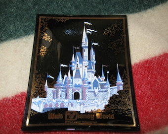 Vintage  Disney World  Cinderella Castle Small Glass Plate Dish  Ashtray free shipping in u s a