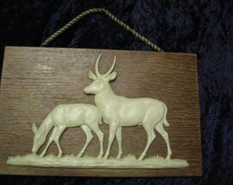 Vintage 2  elk or deer on pics of wood from German  free shipping in the u s a