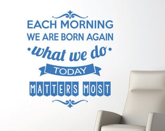 Wall Sticker Decal Quote - Each Morning Motivational Art Quotes. For Home Decor and Office