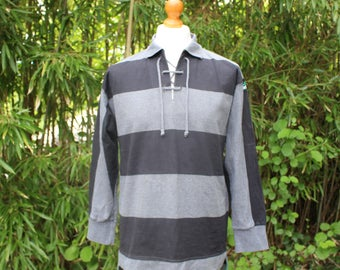 Retro Adidas Equipment Lace Up Collar Top - Size Small //36-38 chest//