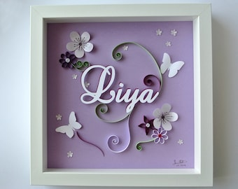 Table theme flowers and butterflies personalized christening or birth gift. first name, purple, embossed decoration room child. paper cut