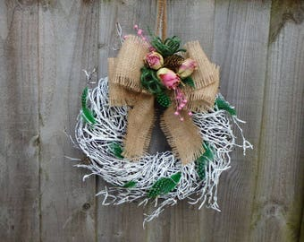 Spring Wreath Feathers and Dried Roses  Wicker Wreath,Wall Door decoration,Hessian bow