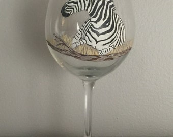 Hand Painted Zebra Red Wine Glass