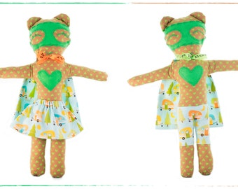 Duo Rag dolls-superheroes-girl and boy-Super Doudou for kid in printed cotton camping-Miss & Mister Green