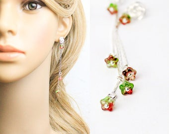 red green earrings flower jewelry long earrings modern studs red wedding jewelry gift for bridesmaids earrings gifts for her flowers L251
