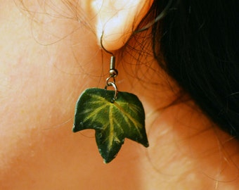 Hand Made Ivy Leaf Earrings