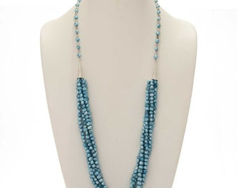 Blue Freshwater Pearl Necklace Navajo Five Strands