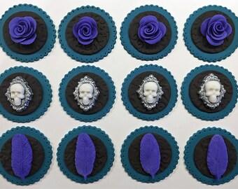 One dozen Victorian, steampunk cupcake toppers