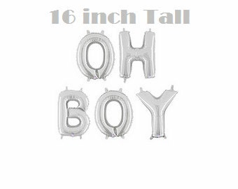 """OH BOY Balloons - 16"""" Inch Mylar Balloons in Letters O-H-B-O-Y - Metallic Silver - Baby Shower Balloons, Baby Shower Decorations"""