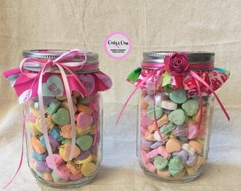 Mason Jar Candy Hearts, Conversation Heart or Lilly Pulitzer design fabric topper