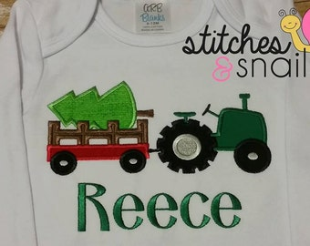 Tractor with Christmas Tree Wagon Applique Shirt