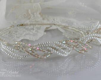 Vintage 1950's Tiara / Mock Pearl and Aurora Borealis Headdress / Circa 1950's Wedding Tiara