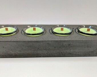 Concrete 4 Votive Candle Holder