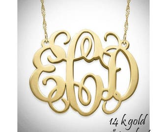 CHANTELLE Necklace - Monogrammed 14k Solid Gold Necklace - Free Ship