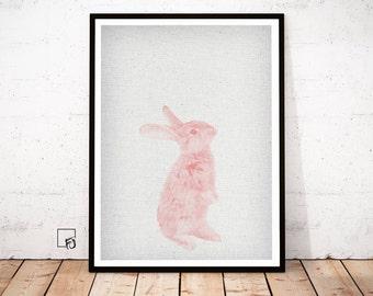 Rabbit Print, Woodlands Nursery Art, Rabbit Wall Decor, mint Baby Animal Print, Printable Bunny, Digital Download Rabbit, Rabbit Poster