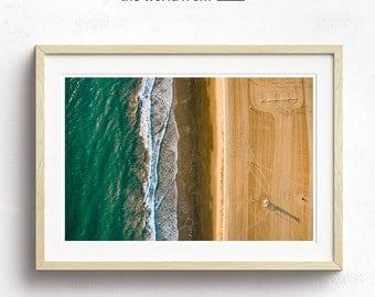 Framed Aerial Beach Photography, Large Landscape Wall Art Decor, Fine Art Photography, Art Prints, Marina Nautical Home Decor