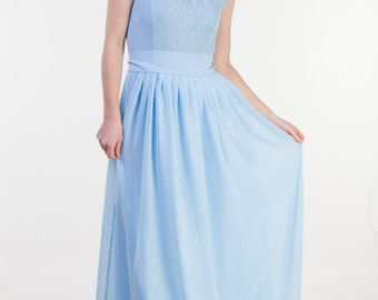 Pastel blue bridesmaid dress Sky blue bridesmaid dress Sky blue lace dress Illusion neckline dress Long pastel dress bridesmaid spring