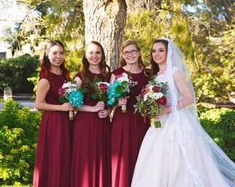 Long burgundy bridesmaid dress with cap sleeves Long burgundy dress Long bridesmaid dress 15+ colors Lace and chiffon bridesmaid dress
