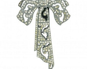 1930s Bridal Silver Tone Rhinestone Diamante Vintage Bow Dress Clip