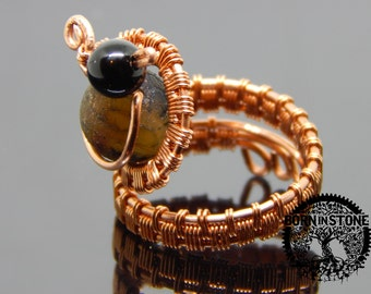 Wire wrapped ring Copper ring Steampunk ring Agate ring Wire wrap Boho ring Gemstone ring Magic ring Best gift For her For mom Unique ring