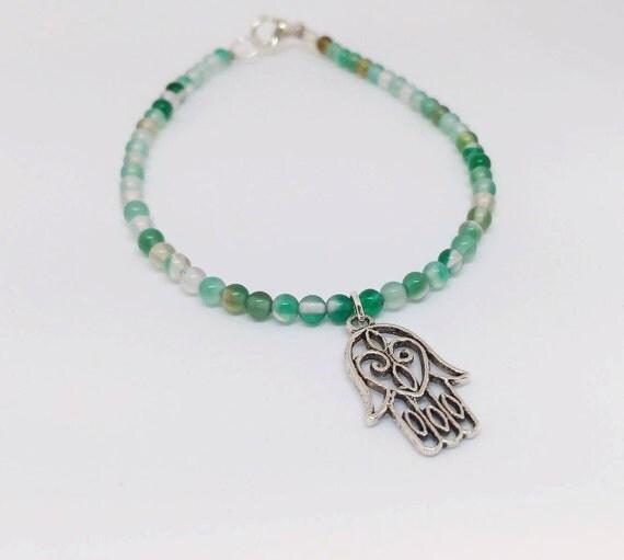 Blue Agate Bracelet, Gemstone Bracelet, Beaded Bracelet, Charm Bracelet, Yoga Bracelet, Mala Bracelet, Meditation Bracelet, Gift For Her