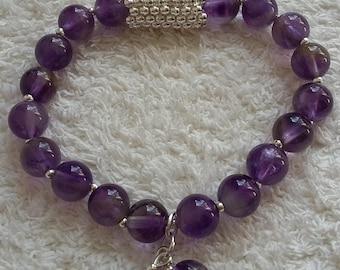 Amethyst crystal rounds bracelet