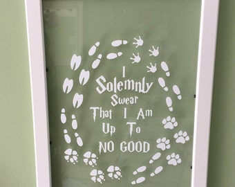I Solemnly Swear that I am Up To No Good Framed Vinyl Decal - 8x10""