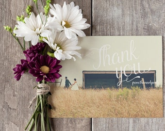 Wedding Thank You Card Template - Printable - Custom - 4 x 6 - Postcard
