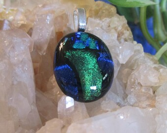 Blue, Green Dichroic Glass Pendant