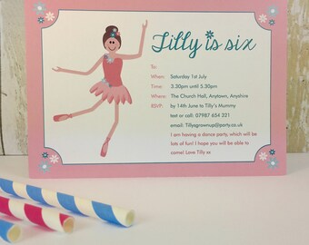 Pack of 16 Ballerina Personalised Dance Party Invites or Thank You Cards