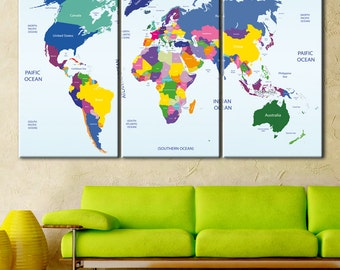 Canvas push pin world map terra vintage colors ready to hang world map detailed push pin map color push pin travel map travel map gumiabroncs Images