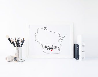Wisconsin Print - State Print - Hand Lettered Print - Wisconsin - Custom State Print - Personalized State Print - Custom State Sign - Sign