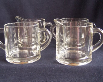Vintage Glass Cream and Sugar Sets, 2 Creamers and 2 Open Sugar Bowls