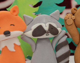 Sugar Clay Woodland Creatures Raccoon Cake Topper for Woodland Party, Wild One,Birthday Cake Topper, Raccoon Cake Decoration, Edible Raccoon