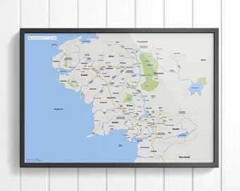 Modern Middle Earth Map - Poster, Lord of The Rings, LOTR, The Hobbit, Google Maps