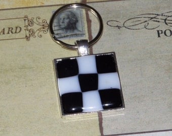 Key Chain - Sterling Silver Plated Tray, checkered black and white